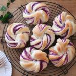 紫いものねじりパン