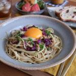 納豆となめ茸のパスタ